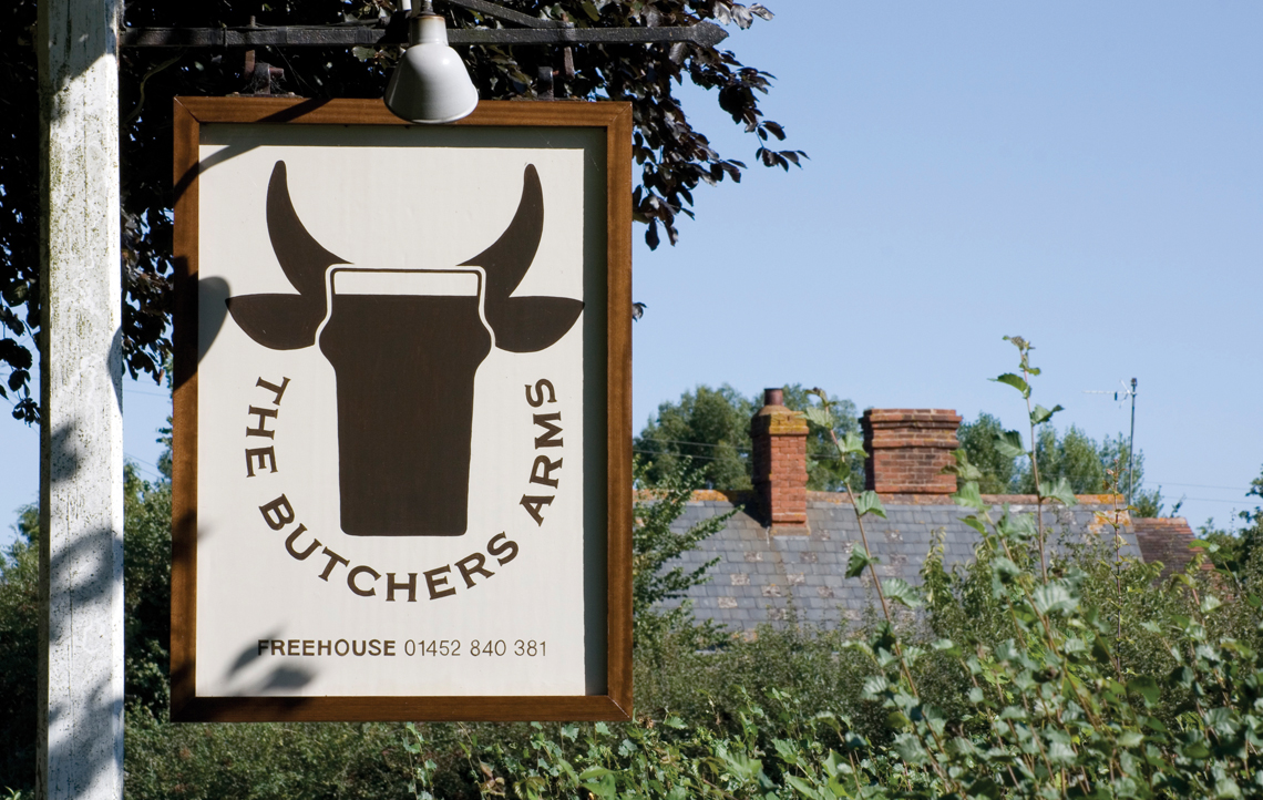 butchers arms signage